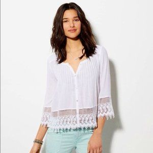 American Eagle Button Front Peasant Blouse, White